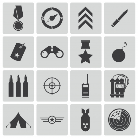 atomic bomb: Vector black  military icons set