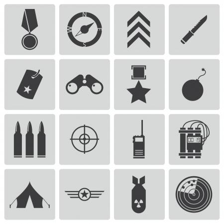 kijker: Vector zwarte militaire pictogrammen instellen