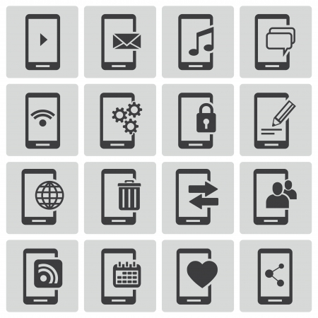 cell phone icon: Vector black mobile icons set