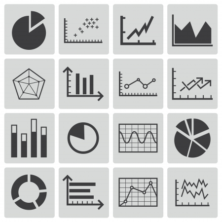Vector black  diagram icons set Vector