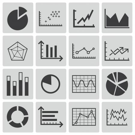 graphic business diagram collection: Vector black  diagram icons set