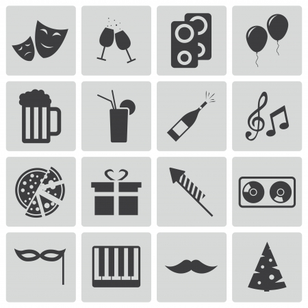Vector black  party icons set Vector