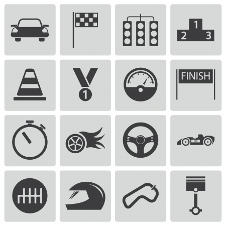 race start: Vector black  racing icons set