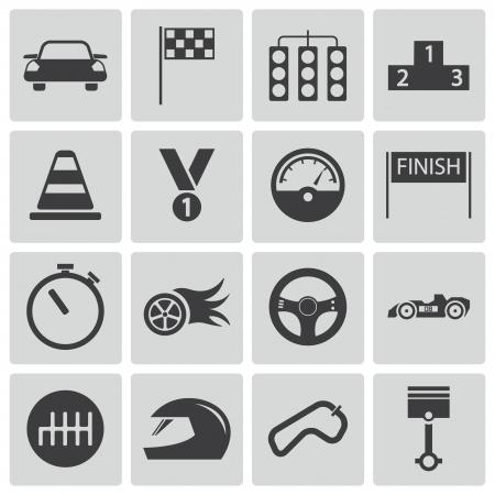 bandera carrera: Vector iconos negros carreras establecidas Vectores