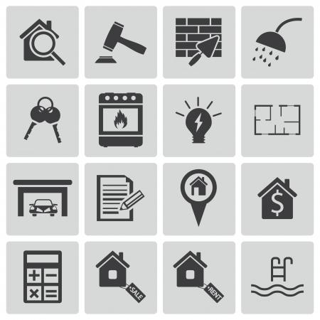 architecture pictogram: Vector black  rea estatel icons set Illustration