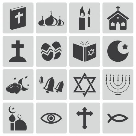 christian people: Vector black  religion icons set