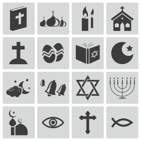 christian fish: Vector negro iconos de la religi�n establecidas