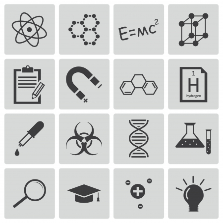Vector black  science icons set Stock Vector - 22150418