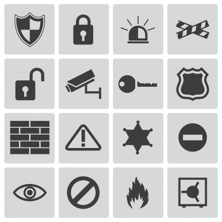 Vector black  security icons set Stock Vector - 22150415