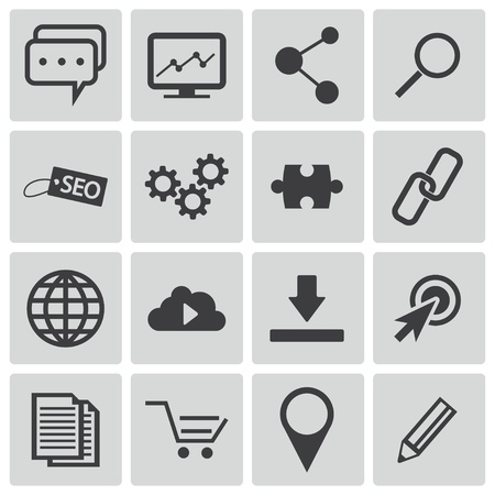 press release: Vector black  seo icons set