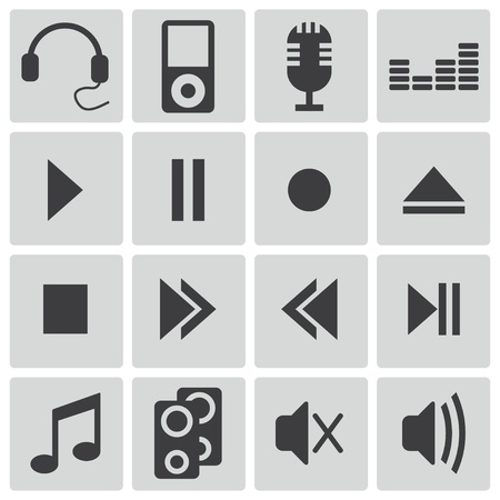 Vector black  sound icons set Stock Vector - 22150420