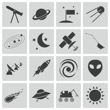 space science: Vector black  space icons set