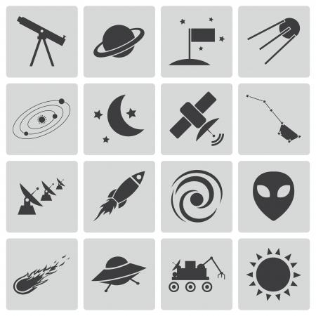 Vector zwarte ruimte iconen set