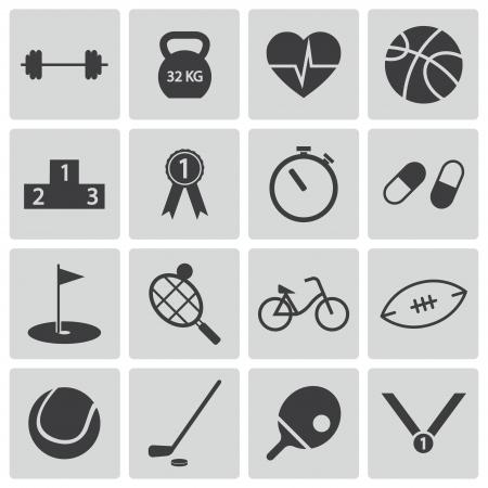 Vector black  sport icons set Vector