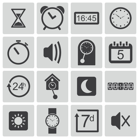Vector black  time icons set Stock Vector - 22150426