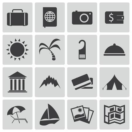 Vector black  travel icons set Vector