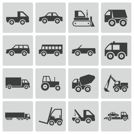 Vector black  vehicle icons set Stock Vector - 22150428
