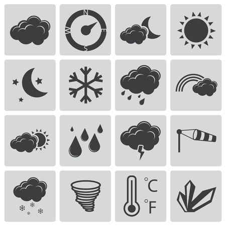 Vector black  weather icons set Stock Vector - 22150427