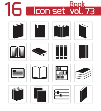 Vector black  book  icons set Stock Vector - 22150448