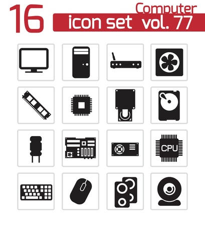 circuitboard: Vector black  PC components  icons set Illustration