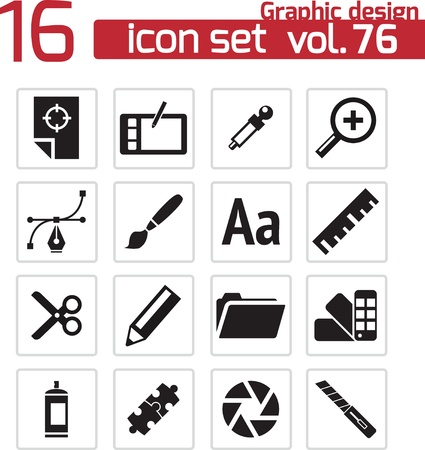 prepress: Vector black  graphic design  icons set Illustration