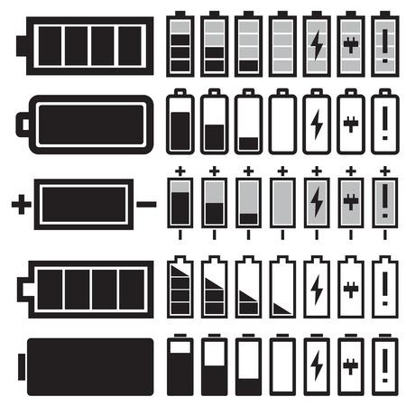 bateria: Vector negro iconos de la batería establecen Vectores