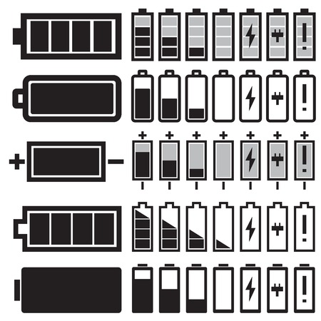 bater�a: Vector negro iconos de la bater�a establecen Vectores