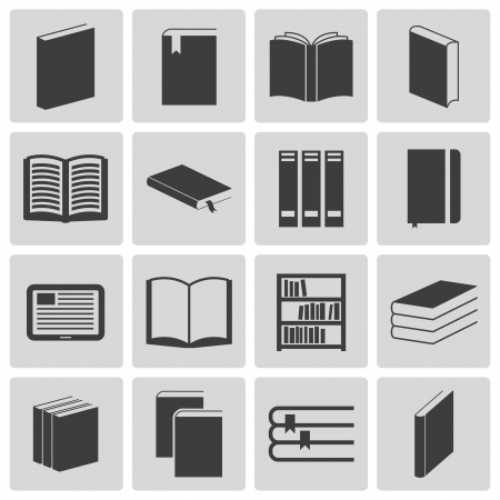 Vector black  book  icons set Stock Vector - 22299558