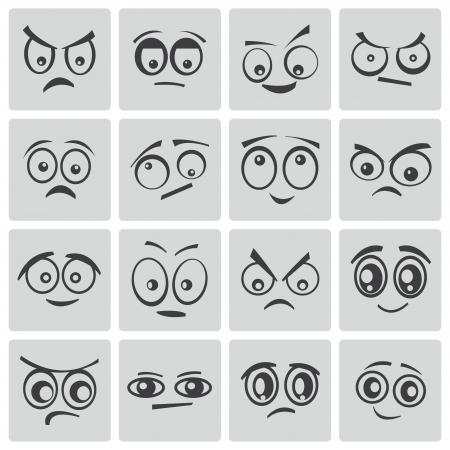fear cartoon: Vector black  cartoon  eyes  set