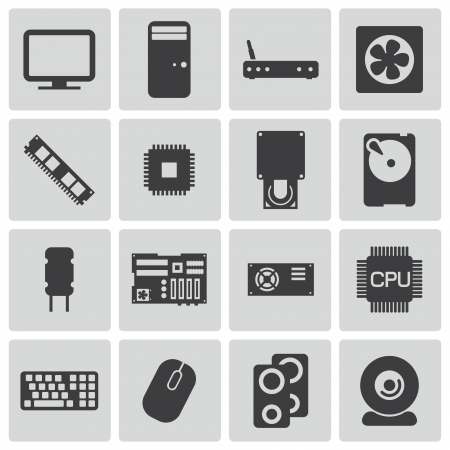 computer graphic: Vector black  PC components  icons set Illustration