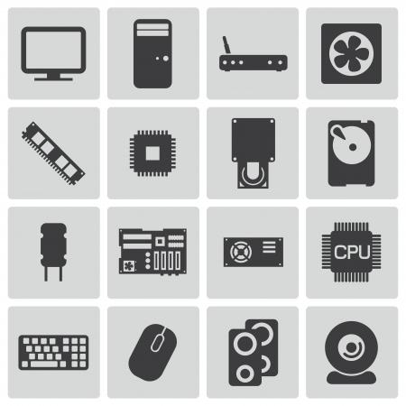 electronics parts: Vector black  PC components  icons set Illustration