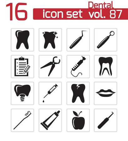 floss: Vector black dental icons set