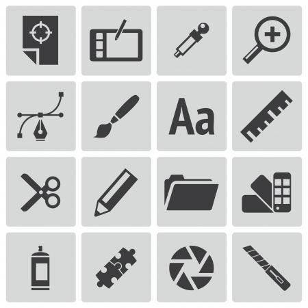 folder design: Vector black  graphic design  icons set Illustration