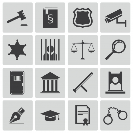 law and order: Vector black justice icons set