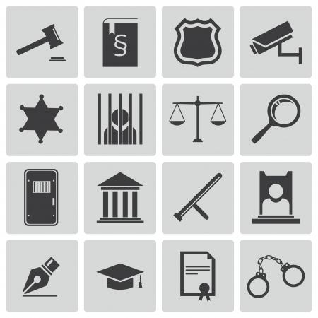 carcel: Vector negro iconos de justicia establecidos Vectores