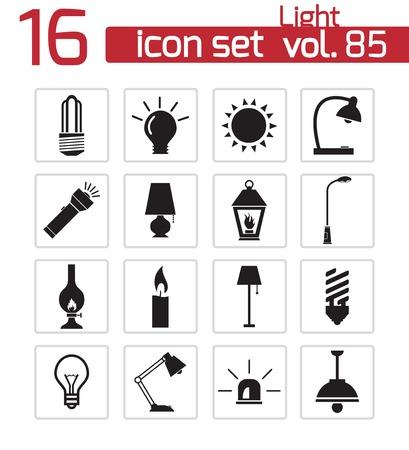 halogen lighting: Vector black light icons set Illustration