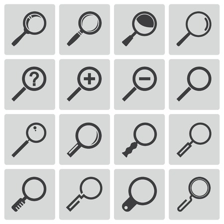 looking glass: Vector black  magnifying glass  icons set