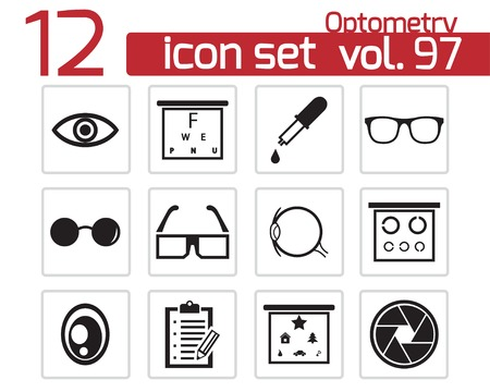 Vector black  optometry  icons set Stock Vector - 22299605