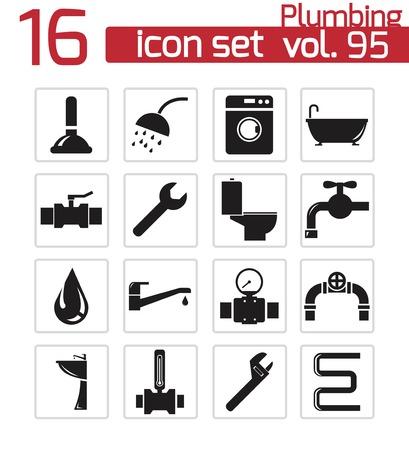 klempner: Vector schwarz Sanit�r-Icons