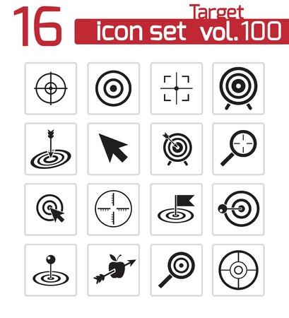 Vector zwarte doel iconen set