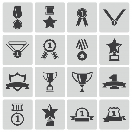 award ribbon rosette: Vector black  trophy and  awards  icons set
