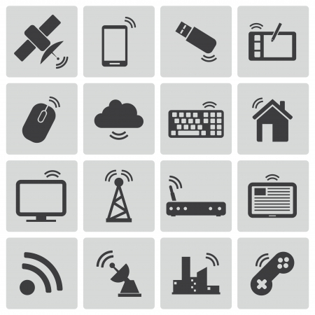 satellite transmitter: Vector black wireless icons set