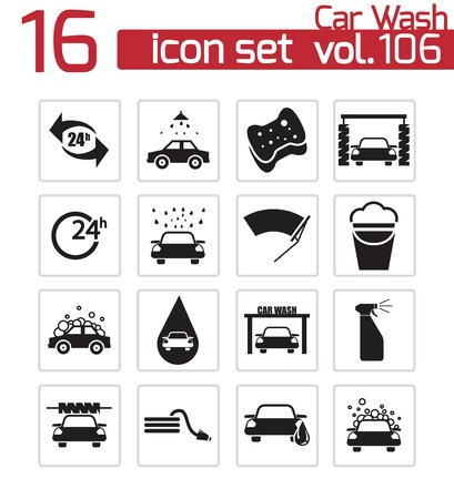 operated: Vector black  car wash  icons set