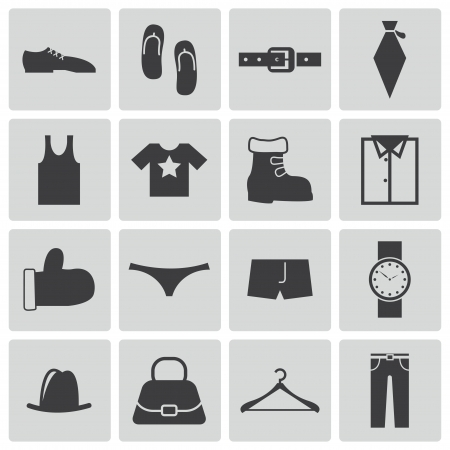 Vector black  clothes  icons set Vector