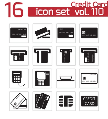 atm card: Vector negro cr�dito cesta iconos conjunto Vectores