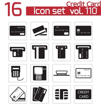 Vector nero credito carrello icone set