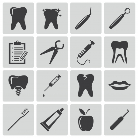 dental floss: Vector black dental icons set