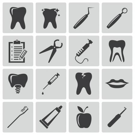 dentista: Vector negro iconos dentales fijados Vectores