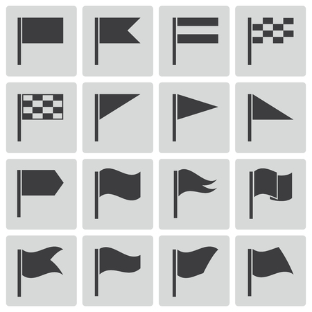 Vector black flag icons set Stock Vector - 22470864