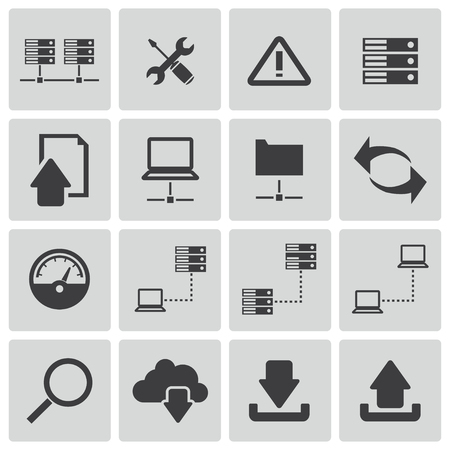 dashboard: Vector black FTP icon set